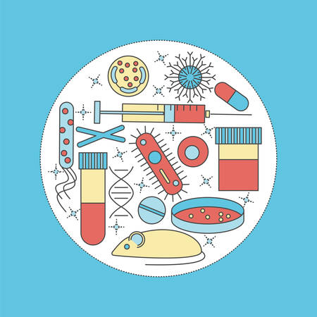 Immunology research icons forming a circle. Stock vector illustration of DNA, petri dish, virus, bacteria, mouse, blood vacutainer, syringe, antibody and human cell. Illustration