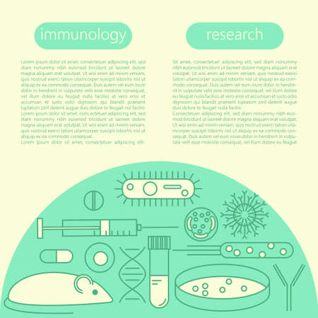 virus cell: Immunology research icons on scientific presentation template. Stock vector illustration of DNA, petri dish, virus, bacteria, mouse, blood vacutainer, syringe, antibody and human cell.