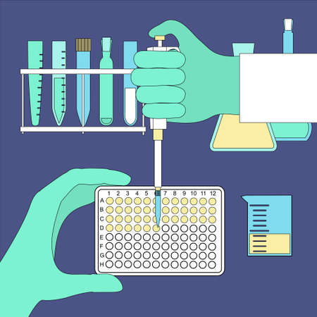 Hand holding pcr plate and using pipette in scientific lab. Stock vector illustration for research, diagnostics, medicine. Illustration
