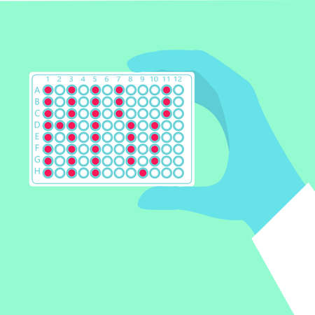 Hand holding pcr plate where wells form hiv word stock vector illustration for aids disease diagnostics, cure research.