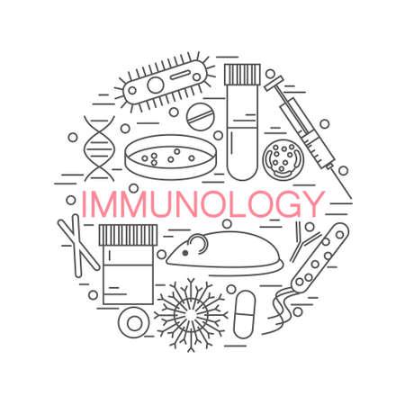 円ストックの形成の免疫学研究アイコン ベクトル dna、ペトリ皿、ウイルス、細菌、マウスのイラストです。  イラスト・ベクター素材