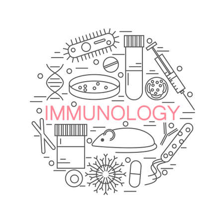 Immunology research icons forming a circle stock vector illustration of dna, petri dish, virus, bacteria, mouse.