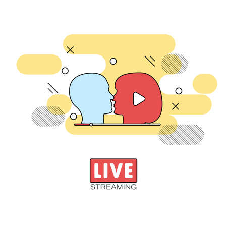 live stream tv: Live streaming concept stock vector illustration of broadcast on pause showing people kissing.