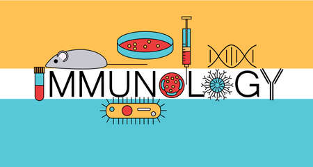 Immunology word formed by research icons. Stock vector illustration of DNA, petri dish, virus, bacteria, mouse, blood vacutainer, syringe, antibody and human cell.