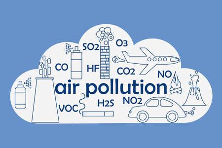Concept de pollution de l'air. Illustration vectorielle stock d'un nuage et différentes sources d'émissions d'atmosphère et de noms de gaz. Vecteurs