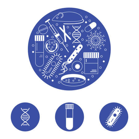 virus cell: Immunology research icons forming a circle in white line on blue background. Illustration