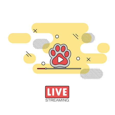 Live streaming concept. Stock vector illustration of broadcast on pause showing cats paw Illustration