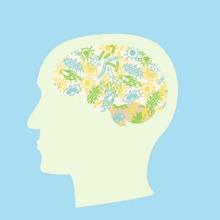 Microbiota-hersenenconcept. Voorraad vectorillustratie met bacteriën die menselijke hersenen vormen, darmflora die besluitvorming beïnvloeden.