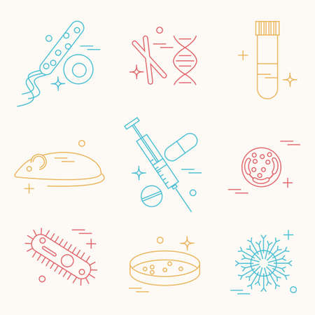 virus cell: Immunology research icons set. Stock vector illustration of DNA, petri dish, virus, bacteria, mouse, blood vacutainer, syringe, antibody and human cell.