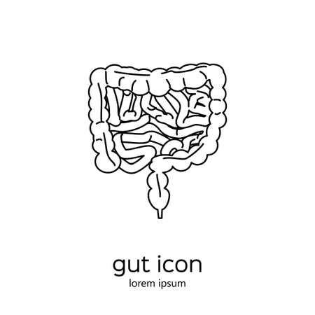 rectum: Gut human digestive system. Stock vector illustration of internal organs icon in black outline isolated on white background.