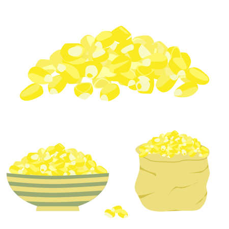 Corn pile isolated, in bag and bowl. Vector stock illustration of heap of maize seeds traditionally used in american and mexican cuisine in flat style. Illustration