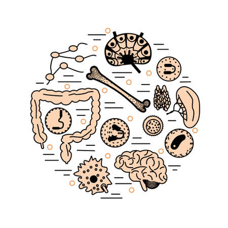 Immune system icon set in a circle. Stock vector illustration of human internal organs, body parts and cells in immune response.