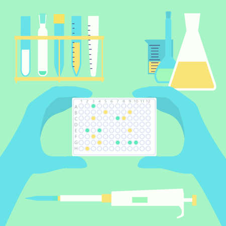 polymerase: Hands holding pcr plate in scientific lab with usual microbiological equipment. Stock vector illustration for research, diagnostics, medicine.