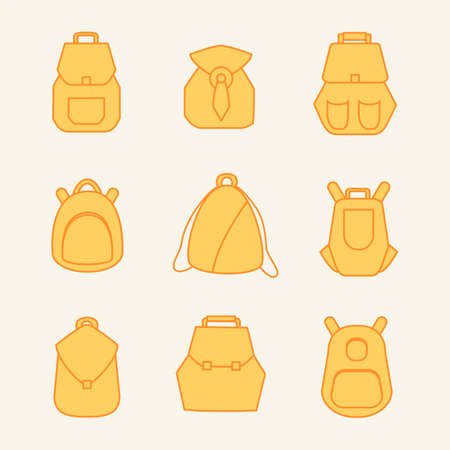 packsack: Backpack set. Stock vector illustration of rusksack city bag collection for students, tourists, hipsters. Flat style