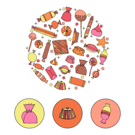 Hand drawn candy set in a circle. Stock vector illustration of sweet food in bright colors isolated on white background. Illustration