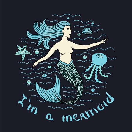 Mermaid hand drawn Stock vector illustration of marine mythological woman