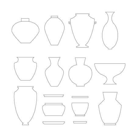 antique vase: Pottery thin line icon set isolated Stock vector illustration of classic pot, vase, jar and bowl. Illustration
