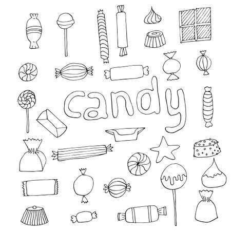 手描きのお菓子セット  イラスト・ベクター素材