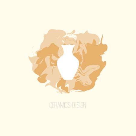 Aardewerk elementen. Voorraad vectorillustratie van klassieke vaas voor workshop logo, aankondiging, reclame, klei ontwerp, keramiek klassen, kunst therapie studio