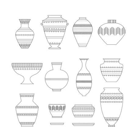 antique vase: Pottery set. Stock vector illustration of classic pot and bowl. Handmade decorated ceramic vase and jar. Think line icon isolated on white background.
