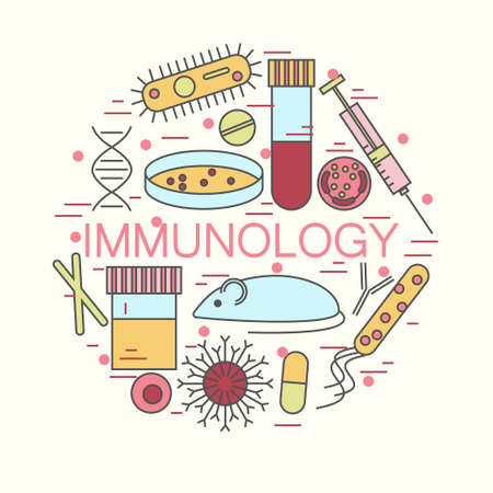 immunology: Immunology research colorful icons forming a circle