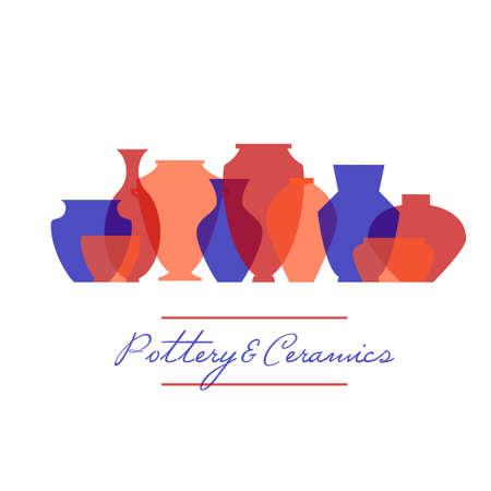 陶器のアイコンを設定  イラスト・ベクター素材