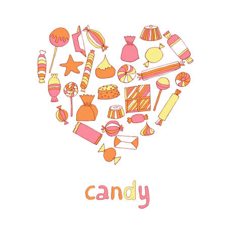 Hand drawn candy set in a heart shape