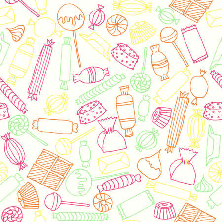 Hand drawn candy seamless pattern. Stock vector illustration of different sweets in colorful outline on yellow background. Illustration