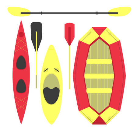 Water sports equipment. stock vector illustration of different types of boats and paddles for active lifestyle. Top view flat style icons on white background