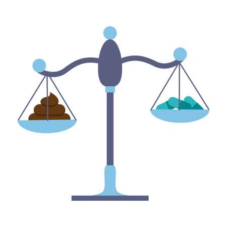 Fecale microbiota transplantatie versus pillen op een schaalconcept. Voorraad vectorillustratie die ziektebehandeling met bacteriën van donorkruk of met drugs en pillen vergelijken.