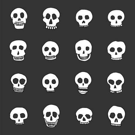 Hand getrokken schedel set. Voorraad vectorillustratie van menselijke hoofdkrabbels Stock Illustratie