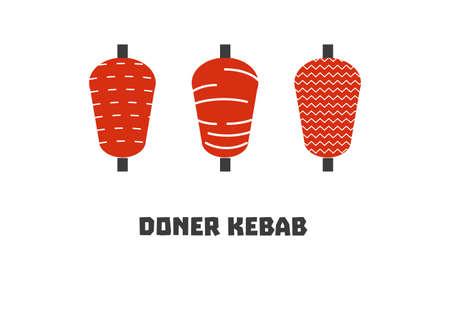 spit: Doner kebab icon set. Stock vector illustration of turkish fast food. Flat style.