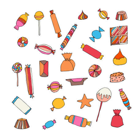 Hand drawn candy set. Stock vector illustration of sweet food in bright colors isolated on white background.