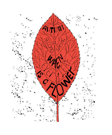 Autumn is a second spring when every leaf is a flower. Unique quote lettering. Vector stock illustration with hand drawn saying for season greeting card, housewarming poster and motivational banner. Illustration