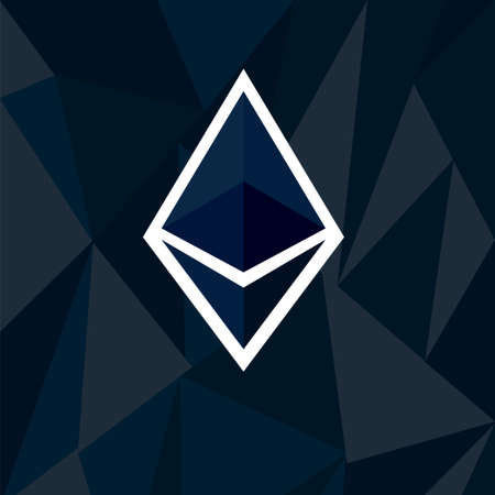 Cryptocurrency ethereum concept. Stock vector illustration of digital currency icon on dark polygonal background. Flat style.