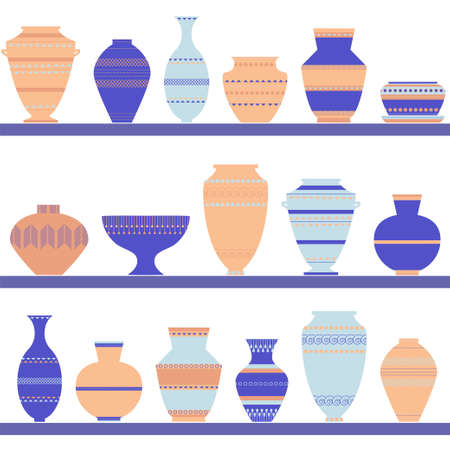 earthenware: Pottery icon set. Stock vector illustration of classic pot and bowl. Handmade decorated ceramic vase and jar. Flat style Illustration