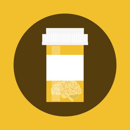 Geestelijke gezondheid medicatie concept. Voorraad vectorillustratie van een plastic fles drugs met menselijke hersenen binnen voor behandeling van geestesziekten, genotmiddelen en antidepressiva. Stockfoto - 83768802
