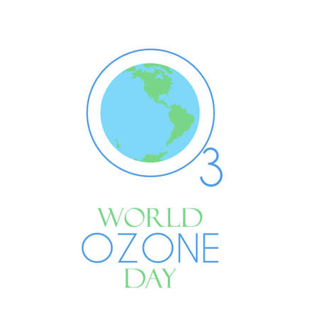 World ozone day. Stock vector illustration for awareness campaign on 16 september. Earth surrounded by O3 chemical formula.