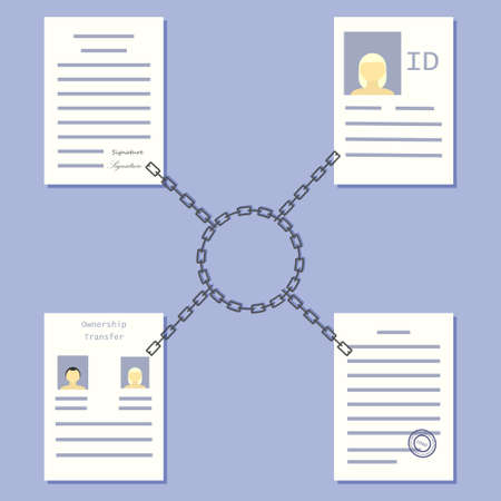 Blockchain government concept. Stock vector illustration of chains and documents for distributed database technology use in public service.
