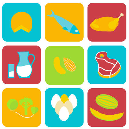Salmonella contaminated food icons. Stock vector illustration of products that may cause poisoning and typhoid fever . Medicine and biology collection. Flat style