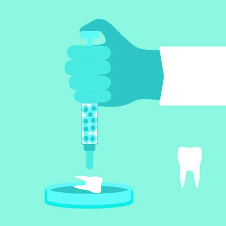 Regeneratieve geneeskunde concept. Voorraad vectorillustratie van de hand van een arts die een nieuwe tand van stamcellen in petrischaal groeit.