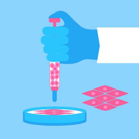 Regeneratieve geneeskunde concept. Voorraad vectorillustratie van de hand van een arts die een nieuw spierweefsel van stamcellen in petrischaal groeit. Stock Illustratie