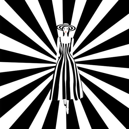Fashion model in black and white striped dress. Stock vector illustration of fashionable woman in glamour vogue style.