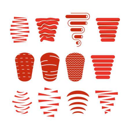 Döner kebab icon set Stock Illustratie