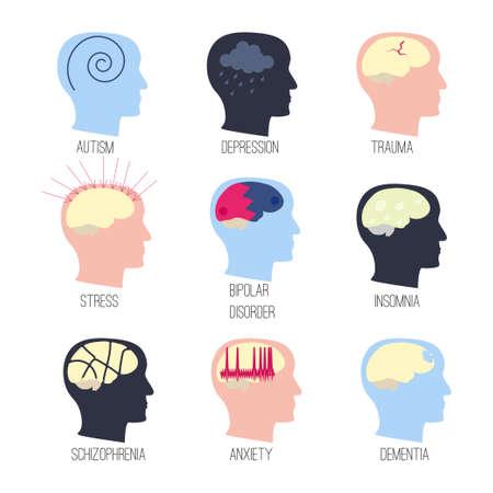 mental disease icon set Vettoriali