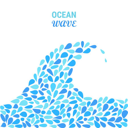 Small water drops forming a wave on white background. Stock vector illustration of blue splash and flow.