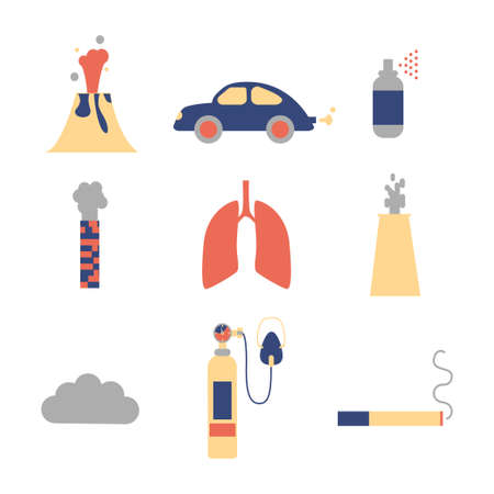 Air pollution icon set. Stock vector illustration of emissions from cars, factory, household spray, volcano, smoking. Flat style.