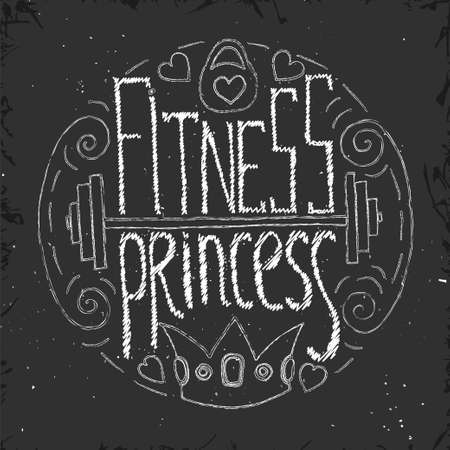 barbel: Fitness princess hand drawn circle lettering. Stock vector illustration for print for young sport woman and girl.