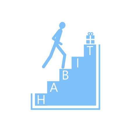 Gewohnheitsbildung Schritt für Schritt. Vektorillustration auf Lager der Annahme des Gewohnheitsverhaltensprozesses. Psychologieillustration. Standard-Bild - 86740927