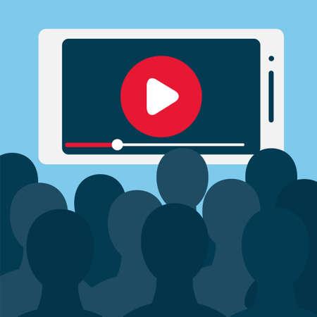 Gran cantidad de espectadores frente a la gran pantalla del teléfono inteligente. Ilustración común del vector para la emisión en línea, el contenido móvil, el cine en casa, la transmisión en vivo de la secuencia de la TV, el entretenimiento digital y la adicción.